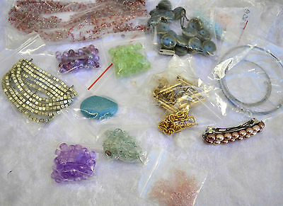 Beads for jewellery making, job lot, mixed colours wooden, glass, metal, ceramic
