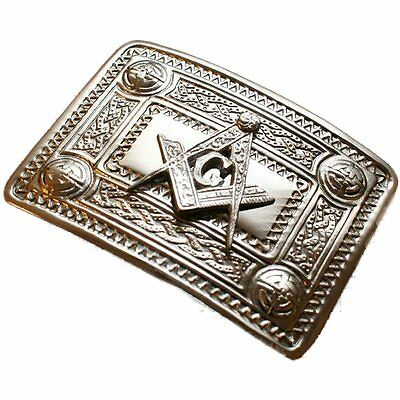Tartanista Men's Celtic Masonic Design Kilt Belt Buckle In Chrome
