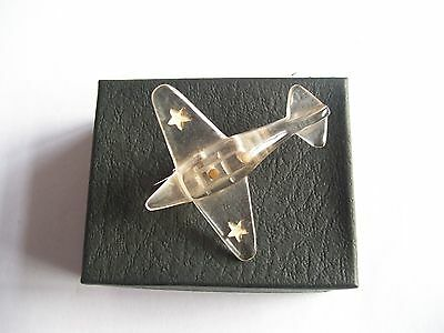 Vintage French Clear Pin Lucite Brooch Aeroplane Unusual & Rare Design