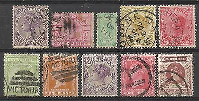 VICTORIA Collection 10 Different COLONIES STATES Stamps Used condition