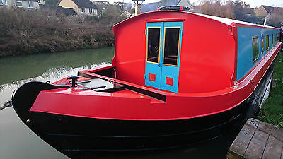 Widebeam narrow boat live aboard canal + river barge with Isuzu marine 55 diesel