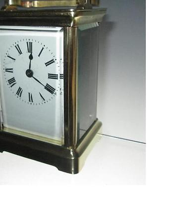 Antique French Corniche Brass Carriage Clock inc Key (Working Order)