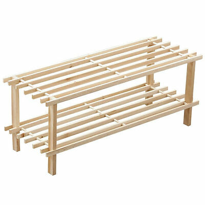 2 Tier Slated Shoe Rack Wooden Storage Stand Organiser New Natural Storage