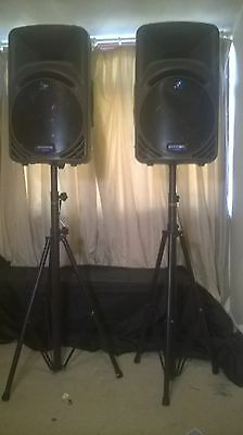 2xMackie SRM450 Active Powered Speakers+Stands Band Dj Club Pub Karaoke