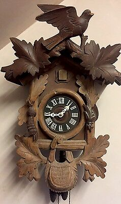 "Traditional German 2 Weights Driven Carved Wood Case Cuckoo Clock 16""H 11""W"