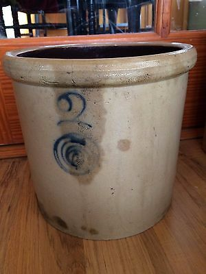 Vintage Blue Scroll #2 Stoneware Crock