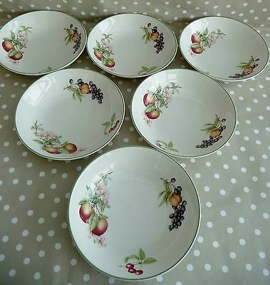 6 MARKS AND SPENCER 'ASHBERRY' SOUP/CEREAL BOWLS 18cm - GOOD CONDITION