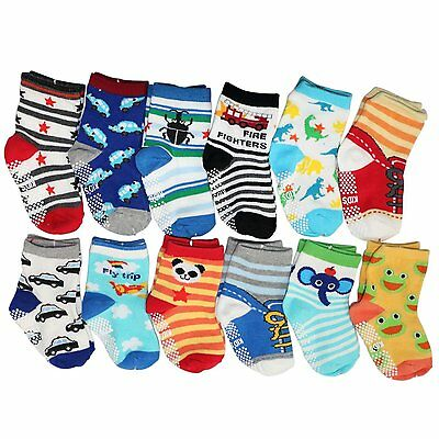 Hip Mall Kids Anti-slip Assorted Baby Socks Boys Girls Toddler Walkers 12 Pairs
