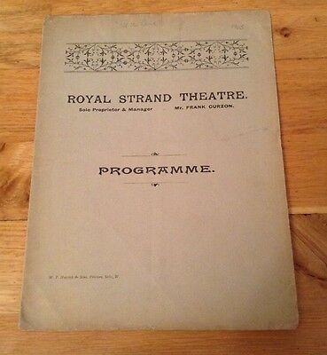 ROYAL STRAND THEATRE 1905 programme OFF THE RANK