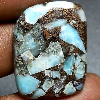 34.77 Cts 100% Natural New Copper Larimar Classy Fancy Cabochon Loose Gemstone