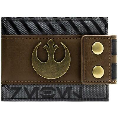 New Official Star Wars Rogue One Rebel Buttoned Brown Id & Card Bi-Fold Wallet