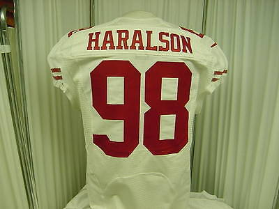 San Francisco 49ers Game Used/Worn Football Jersey #98 Parys Haralson Size- 44