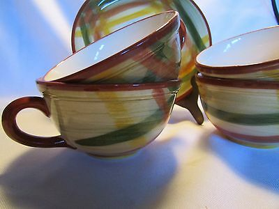 Set Of  4 Vintage Vernonware Homespun Cups And Saucers 1950's  Brown  Green MINT