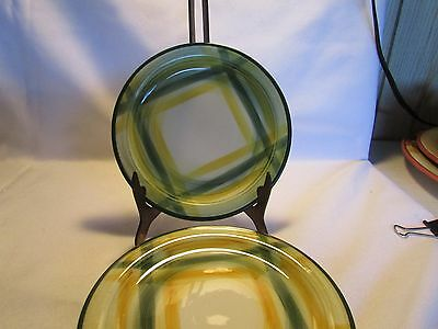 Set Of 2 Vintage Vernonware Gingham Bread & Butter Plates 1950's  Yellow Green