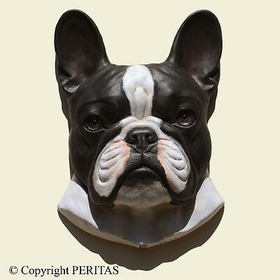 French Bulldog Bouledogue PERITAS wall sculpture statue fine art relief フレンチ・ブルド