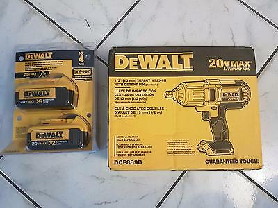 """DeWalt 20V MAX 1/2"""" Impact Wrench DCF889B WITH 2 Batteries DCB204"""