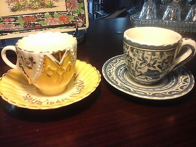 2 CUP AND SAUCERS, c1880's, COLLECTABLE PIECES