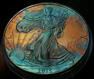 2015 Rainbow Toned Silver American Eagle 1 ounce fine silver uncirculated #a285