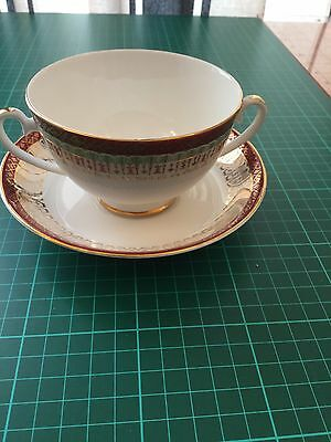 Royal Grafton Red Majestic Soup Coupe & Saucer, vintage