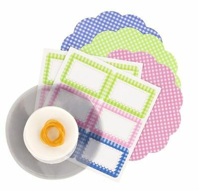 Tala Gingham Design Jam Pot Colourful Preserve Jar Cover Sticker Decoration Set