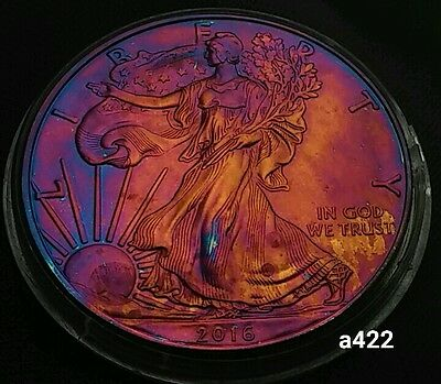 2016 Rainbow Monster Toned Silver American Eagle Coin 1oz  uncirculated #a422