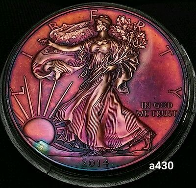 2014 Rainbow Monster Toned Silver American Eagle Coin 1oz  uncirculated #a430