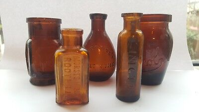 Vintage Antique Collection Of Small Amber Medicines & Cures Bottles