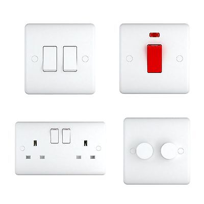 White Plastic Sockets and Switches - 15 Year Warranty