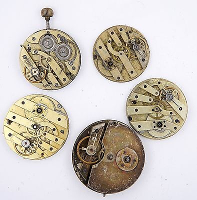 Swiss Lever Pocket Watch Movements X 5 Pieces  Spares And Repairs R198