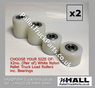 Pallet Truck load rollers/ wheels: White Nylon inc. Bearings - x2no. (Pair of)