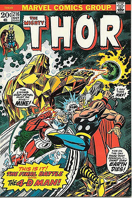 The Mighty Thor Comic Book #216, Marvel Comics 1973 VERY FINE+