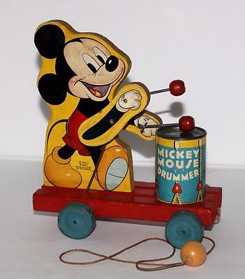 """Disney1941 """"mickey Mouse Drummer"""" Pull Toy #476 By Fisher-Price-Works Great!!"""