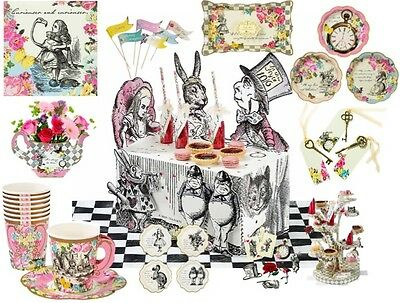 Truly Alice In Wonderland Mad Hatter Tea Party Vintage Cups Plates Decorations