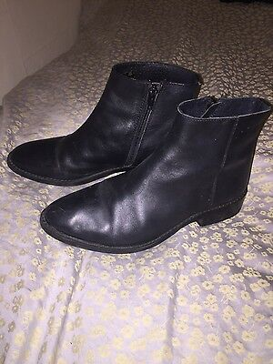 black leather office ankle boots size 5