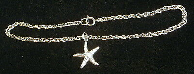Starfish Ankle Bracelet Sterling Silver Plate Silver Plate Charm Beach Anklet