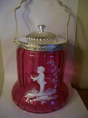 Cranberry Glass Mary Gregory Antique Design Bell Biscuit Bonbon Jar Silver Plate
