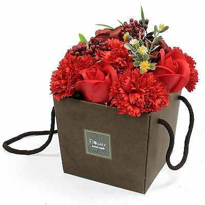 Soap Flower Bouquet Red rose & Carnation Unusual Gift - FREE P&P