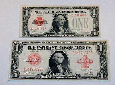 Two HIGHER GRADE  RED SEAL 1923 Large & 1928 FUNNYBACK $1 Dollar Currency Note
