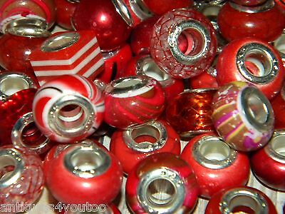 NEW Reds 30/pcs per lot Charm 925 Silver European Assorted Acrylic BEADS