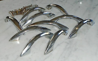 10 Hollow Vintage Sleek MCM Chrome Ridge Cabinet Drawer Pull Handles - 4 1/2in