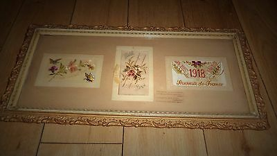 Interesting Needlework Sampler 1918 Souvenir De France In Attractive Old Frame