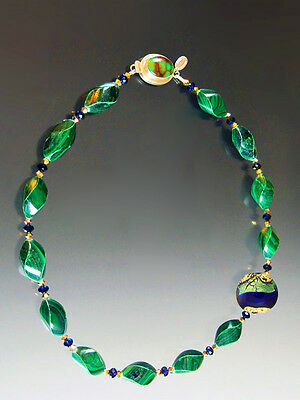 New Markdown - Bess Heitner Malachite Swirl Venetian Disc Necklace - Only Two