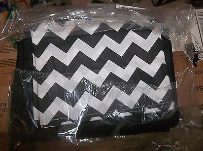 Baby Doll Bedding Chevron Window Valance and Curtain Set, Black.NEW