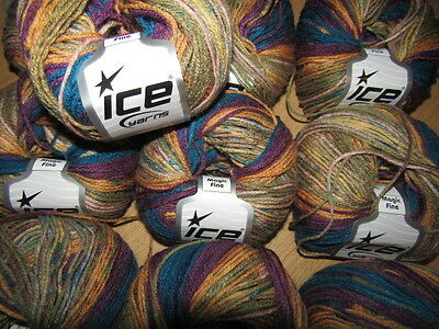 KNITTING WOOL & YARN  10 x 50g - ICE YARN  MAGIC FINE - MULTI COLOURED