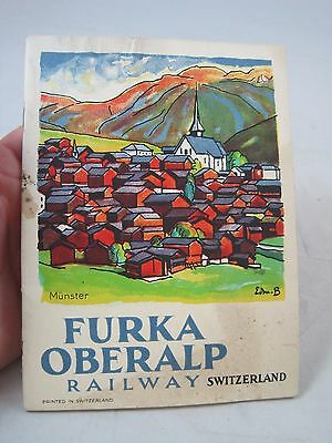 Vintage 1928 Furka Oberalp Railway Switzerland Railroad Travel Tourism Booklet