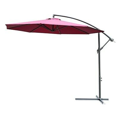 3 M Cantilever Red Umbrella Hanging Outdoor Patio Parasol Pool Sun Shade Canopy