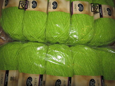 KNITTING WOOL & YARN  10 x 100g - MODA VERA VIONETT - GREEN