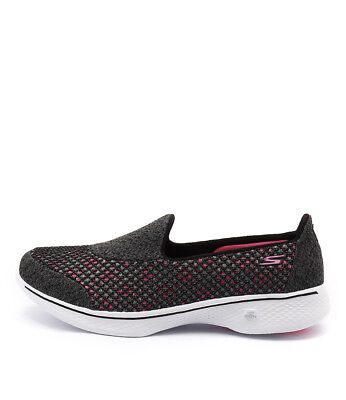 New Skechers 14145 Go Walk 4 Kindle Slip On Black Hot Pink Womens Shoes Active