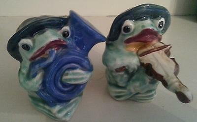 Vintage Frog Salt & Pepper Shakers Playing Tuba & Violin Lily Pads for Hats CUTE