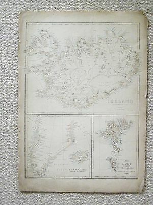 Genuine antique map of Iceland, Greenland, The Feroe Islands.